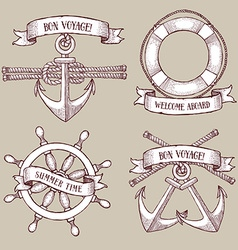 Engraved set of marine icons vector