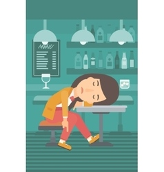 Woman sleeping in bar vector