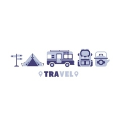 Active Trip Travel Symbols Set By Five In Line vector image