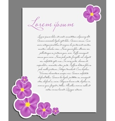 Blank white page decorated with flower vector image