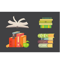 books set in cartoon design style isolated on dark vector image vector image