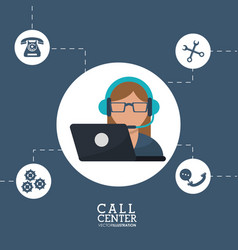 Call center operator support helpline service vector