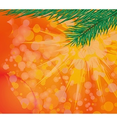 Christmas colored background with green tree vector image vector image