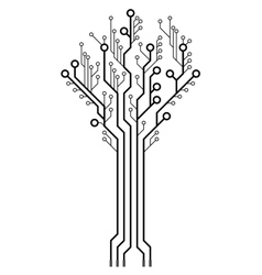 Circuit board in the shape of the tree vector image