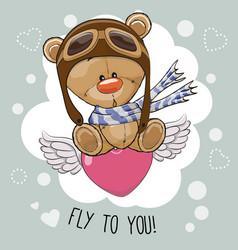 Cute cartoon teddy bear in a pilot hat vector