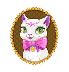 cute white kitty princess portrait vector image vector image