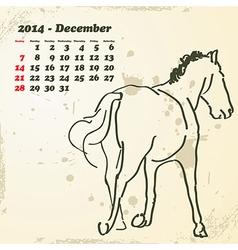 December 2014 hand drawn horse calendar vector image vector image
