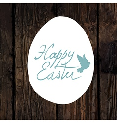 easter greeting calligraphy wooden vector image vector image