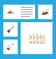 Flat icon farm set of hacksaw wooden barrier vector