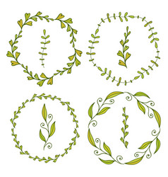 frames with cute leaves spring decoration for vector image