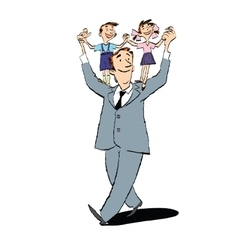 Happy father with children on their shoulders vector