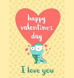 happy valentines day card with hearts cute vector image vector image