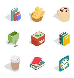 Home rest icons set isometric style vector