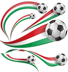 italian and mexican flag with soccer ball vector image vector image