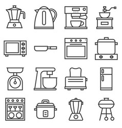 Kitchen household icons vector