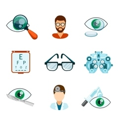 Optometry and optical icons flat set vector image