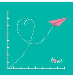 Origami pink paper plane and scale Love card Flat vector image vector image
