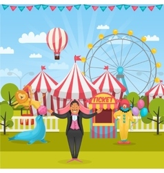 Outdoor circus composition vector