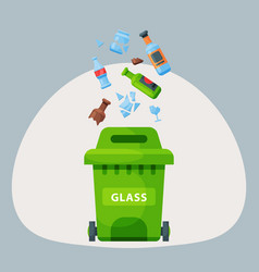 recycling garbage glass trash bag tires management vector image vector image