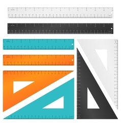 Rulers and triangle with inches centimeters vector