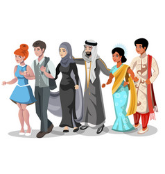 Set of different couples and families vector