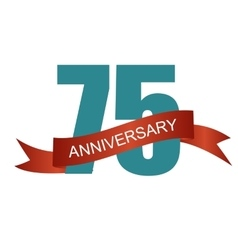 Seventy five 75 years anniversary label sign for vector