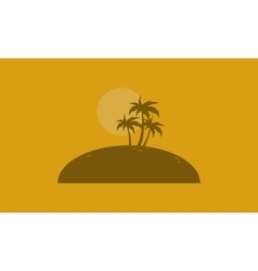 Silhouette of palm on the islands vector