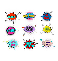 speed comic pop art sale clouds elements vector image vector image