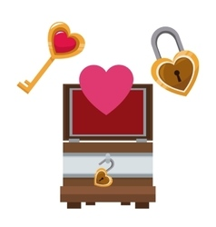 Valentine day wooden box heart key and lock vector