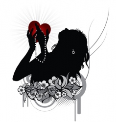 woman holding heart vector image vector image
