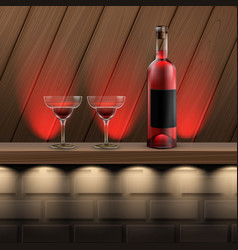 wooden shelf with alcohol vector image vector image