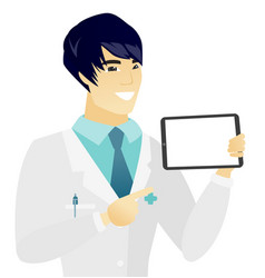 Young asian doctor holding tablet computer vector