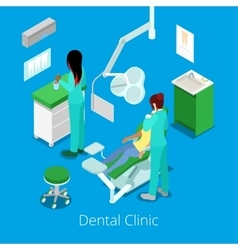 Isometric dentist cabinet interior with patient vector