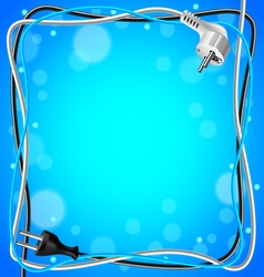 Frame from cables on blue background vector