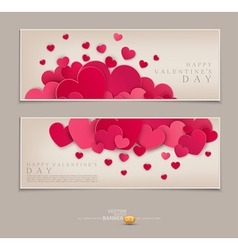 Vintage Template for postcards with many hearts vector image
