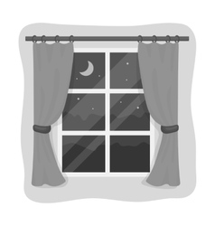 Night out the window icon in monochrome style vector