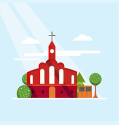 Flat colorful church concept vector