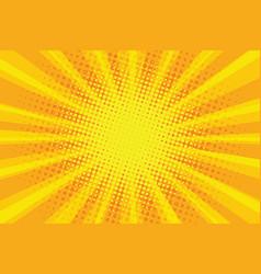 Yellow orange sun pop art retro rays background vector
