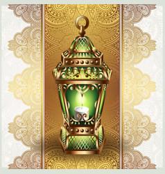 Golden vintage lantern vector