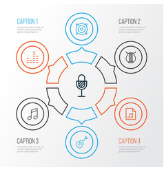 Audio outline icons set collection of stringed vector