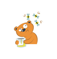cute bear with honey and bees vector image