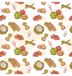 Fresh vegetables hand drawn seamless pattern vector