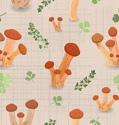 Seamless texture with edible mushroom armillaria vector