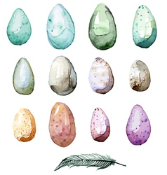 Watercolor hand drawn easter egg collection vector