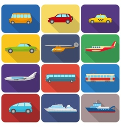 Multicolored transport icons flat vector