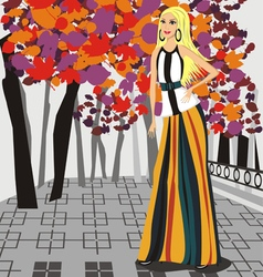 Autumn fashion - of a girl in the aut vector