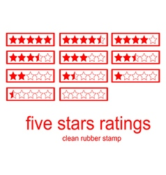 Red clean rubber stamp five stars ratings vector