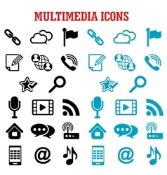 Multimedia and communication flat icons vector
