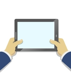 Hand holding tablet pc with blank screen flat vector