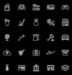 E wallet line icons on black background vector